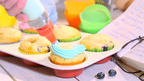 Decorating homemade cupcakes with berry fruits stock footage