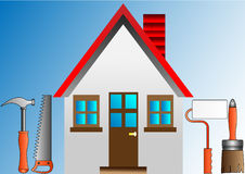 Decorating house with stucco roller and building Royalty Free Stock Photography