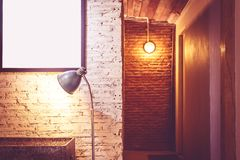 Decorating the house wall. Decorating the house wall with brick and light royalty free stock photo