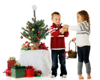 Decorating the Kiddie Tree Stock Image