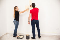 Decorating our home together Royalty Free Stock Photography