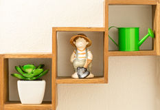 Decorating shelf boxs Royalty Free Stock Images