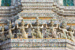Decorating of the Stupa at Wat Arun Royalty Free Stock Images