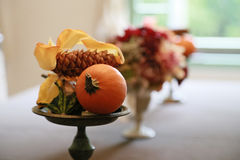 Decorating the table. Scenery of decorating the table on the window side Stock Images
