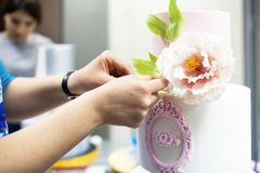 Decorating tiered wedding cake with flower stock photo