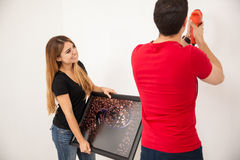 Decorating together our home Royalty Free Stock Photography