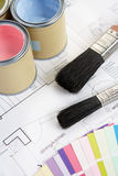 Decorating tools and materials. Laid over paper designs Royalty Free Stock Images