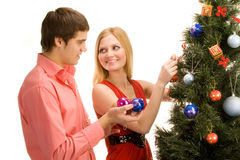 Decorating the Tree Stock Image