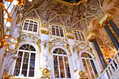 Decorating the walls of the Hermitage. In St-Petersburg Stock Image