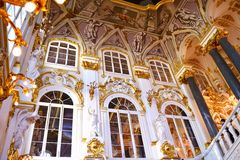 Decorating the walls of the Hermitage. In St-Petersburg Stock Photo