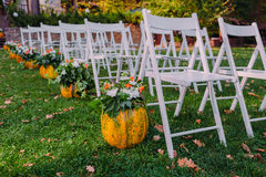 Decorating a wedding with autumn pumpkin and flowers. Ceremony outdoor in the park. White chairs for guests Stock Images