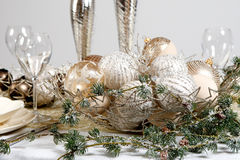 Decoration. Christmas table decoration on white. Ball, glass Stock Image