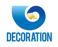 Decoration. Sign, brush in spiral action. Vector royalty free illustration