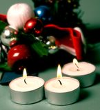 Decoration. Christams decoration with tea candles, soft focus royalty free stock images