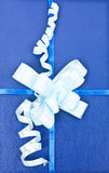 Decoration. Isolated blue gift with bow Stock Images