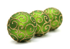 Decoration. Green decoration balls isolated on white Royalty Free Stock Photography