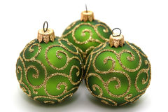 Decoration. Green decoration balls isolated on white Royalty Free Stock Photos