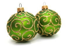 Decoration. Green decoration balls isolated on white Royalty Free Stock Images