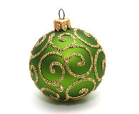 Decoration. Green decoration ball isolated on white Stock Photo