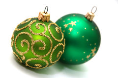 Decoration. Green decoration balls isolated on white Stock Photography