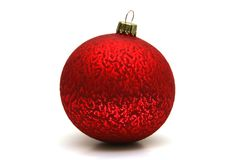 Decoration. Red decoration ball isolated on white Royalty Free Stock Photo