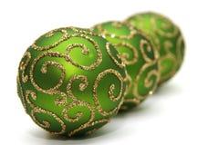 Decoration. Green decoration balls isolated on white Stock Image