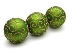 Decoration. Green decoration balls isolated on white Stock Images
