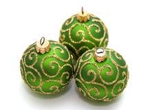 Decoration. Green decoration balls isolated on white Royalty Free Stock Photo