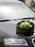 Decoration. Wedding car decoration with natural flowers Royalty Free Stock Image