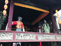 Decoration of ancient opera stage in XingPing town Stock Photos