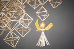 Decoration angels from straw Stock Photos