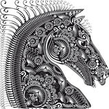Decoration animal ornament, horses head Royalty Free Stock Photography