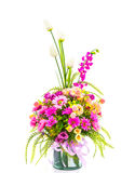 Decoration artificial flowe. On background Royalty Free Stock Photo