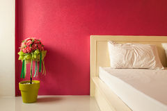 Decoration artificial flower in  bedroom Stock Photos