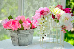 Decoration artificial flower. Decoration colorfol artificial flower on the table Stock Image