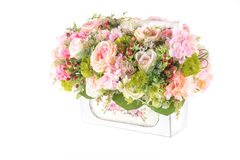 Decoration artificial plastic flower with vintage design basket Royalty Free Stock Photography