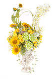 Decoration artificial plastic flower with vintage design vase Stock Image