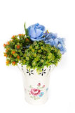 Decoration artificial plastic flower with vintage design vase Royalty Free Stock Photography