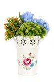 Decoration artificial plastic flower with vintage design vase Stock Photo