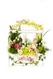 Decoration artificial plastic flower with vintage design vase Stock Photography