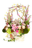 Decoration artificial plastic flower with vintage design vase Royalty Free Stock Photo