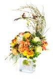 Decoration artificial plastic flower with vintage design vase Stock Images