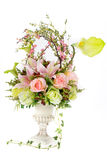 Decoration artificial plastic flower with vintage design vase Royalty Free Stock Photos