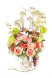 Decoration artificial plastic flower with vintage design vase, 2 Stock Images