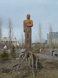 Decoration in Astana. Astana, decorative element in the city, wood figure Stock Photography