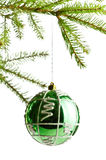 Decoration ball on fir branch. White background Stock Image