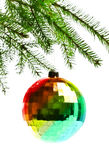 Decoration ball on fir branch Royalty Free Stock Photography