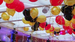Decoration balloons hall. The festive banquet hall is decorated with balloons stock footage