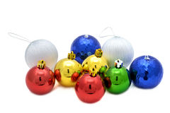 Decoration balls. Color decoration balls on white background royalty free stock photography