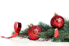 Decoration balls with fir-tree Royalty Free Stock Image